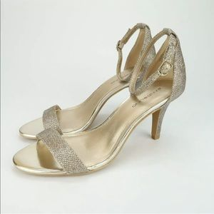 Bandolino Madia Silver Open Toe Ankle Strap Heels